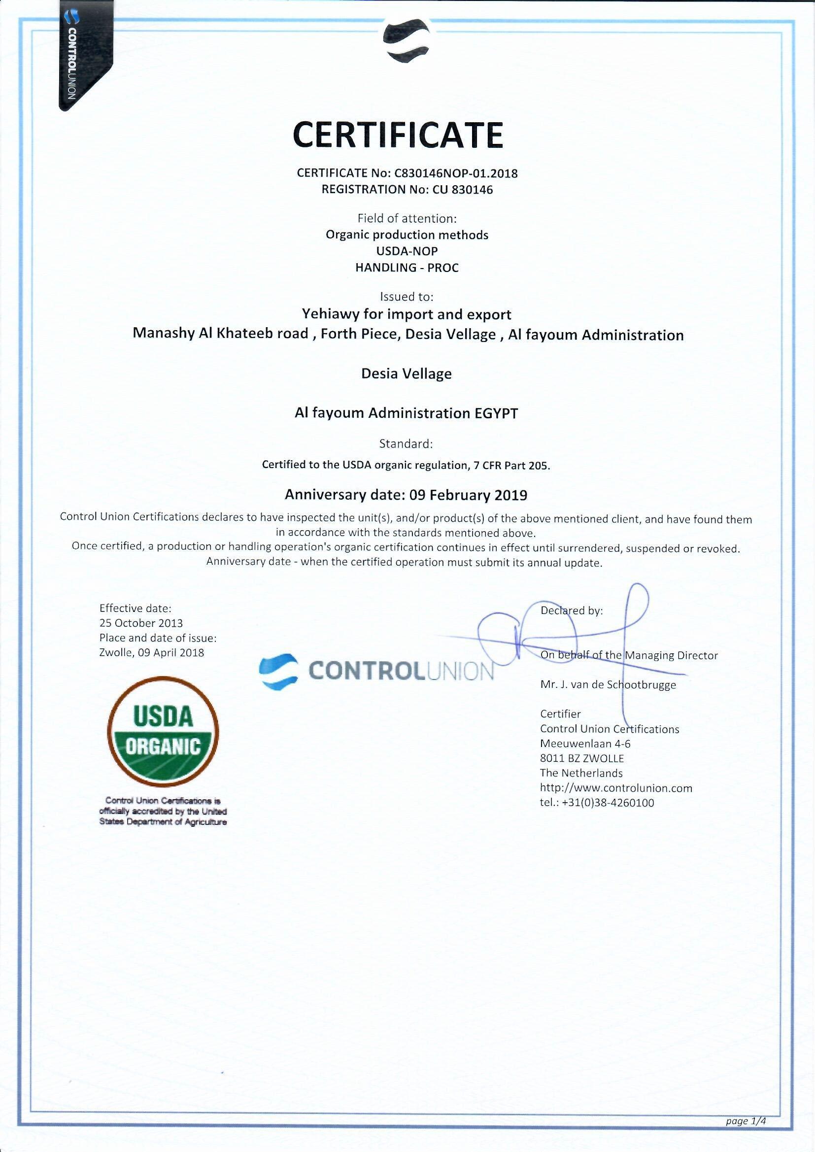 Control union, USDA certificate 2018-Yehiawy-1