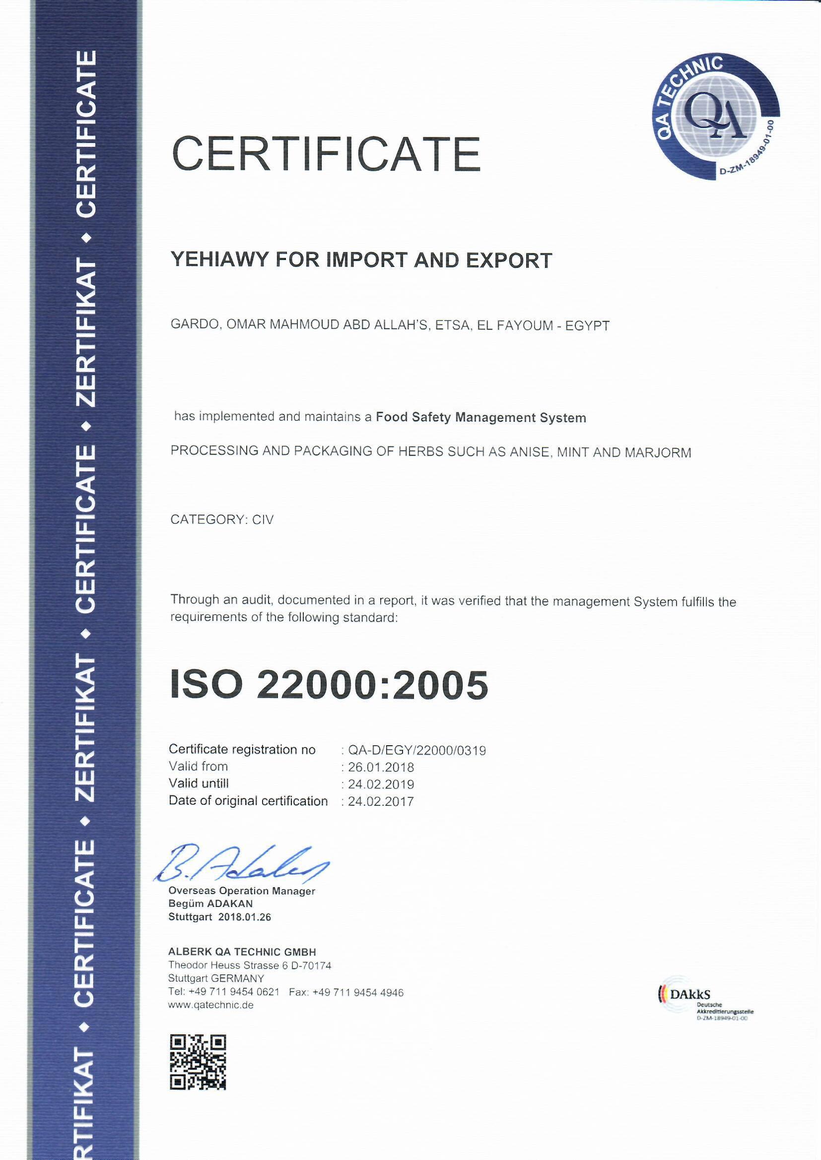 ISO 22000 yehiawy 2018